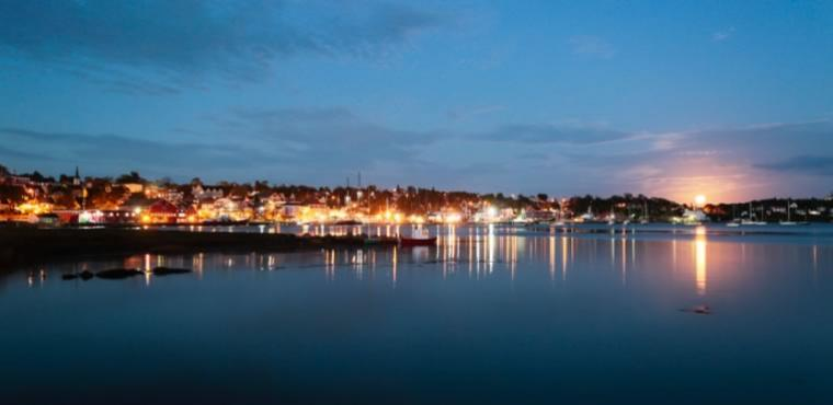 Mahone Bay skyline at night